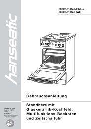 Gebrauchsanleitung Standherd mit Glaskeramik-Kochfeld ... - Schwab