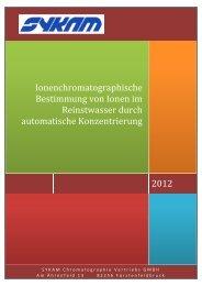 IC Spurenanalyse Doku - SYKAM Chromatographie Vertriebs GmbH