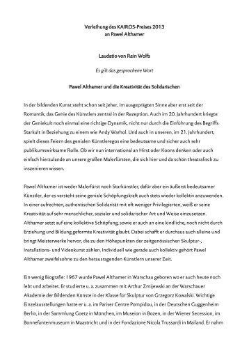 Verleihung des KAIROS-Preises 2013 an Pawel Althamer Laudatio ...