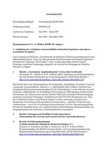 Zwischenbericht Zuwendungsempfänger ... - IKZM-Oder