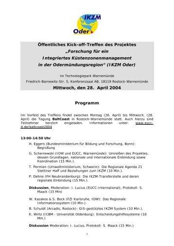 """Öffentliches Kick-off-Treffen des Projektes """"Forschung ... - IKZM-Oder"""