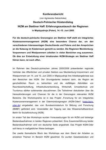Konferenzbericht Deutsch-Polnischer Küstendialog ... - IKZM-Oder