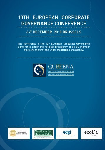 10th EUROPEAN CORPORAtE GOVERNANCE CONFERENCE