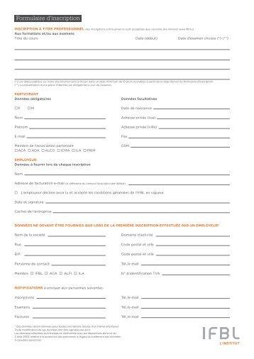 Formulaire d'inscription - ILA