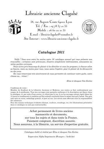 Librairie ancienne Clagahé - SLAM