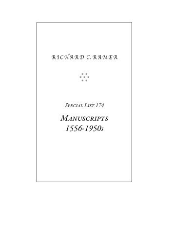 Special List 174 - Richard C. Ramer Old & Rare Books