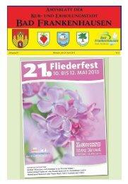 Jahrgang 24 Mittwoch, den 24. April 2013 Nr. 8 - Bad Frankenhausen