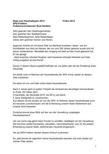 Stellungnahme Rudi Neidlein - SPD - Stadt Heidenheim