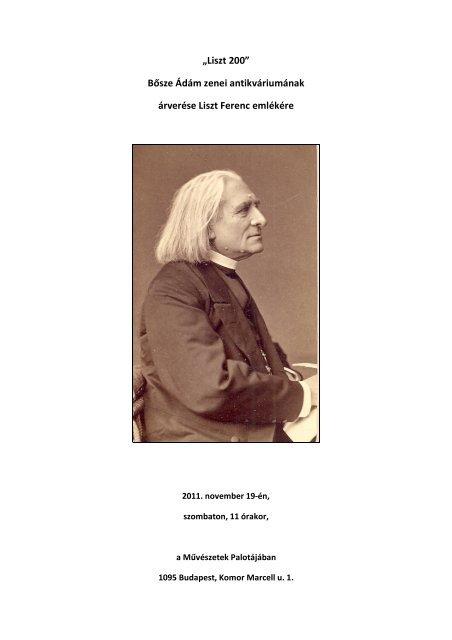 Bősze Ádám zenei antikváriumának árverése Liszt Ferenc emlékére