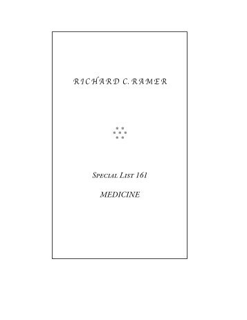 RICHARD C. RAMER Special List 161 MEDICINE