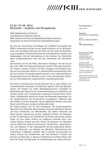 27.02.-01.03. 2014 Biennalen – Ausblick und Perspektiven - ZKM
