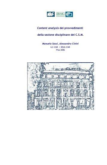 Content analysis dei provvedimenti della sezione disciplinare del CSM