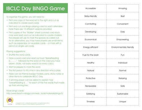 Ilca 2011 Ibclc Bingo Cards Indd International Lactation