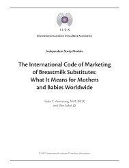 Int'l Code of Marketing - International Lactation Consultant Association