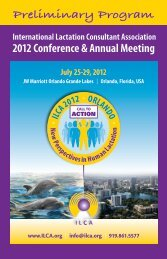 2012 ILCA Conference Brochure - International Lactation Consultant ...