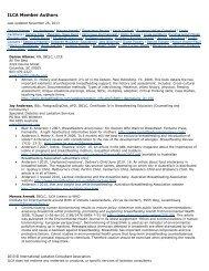 ILCA Authors Page - International Lactation Consultant Association