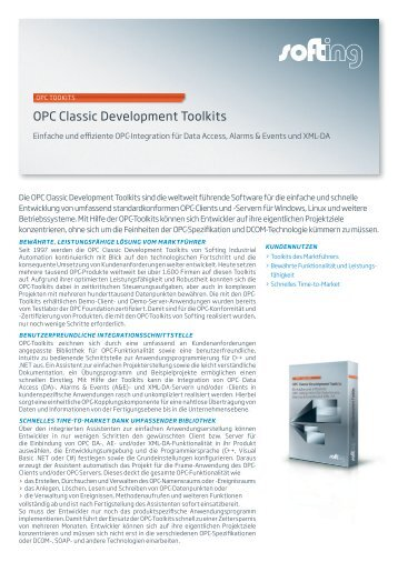 OPC Classic Toolkits Datenblatt - Softing Industrial Automation