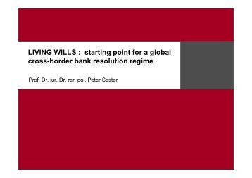Präsentation Peter Sester - Institute For Law And Finance