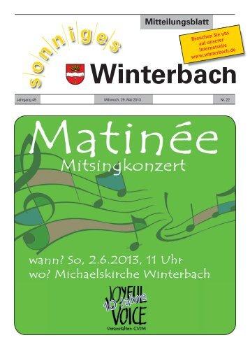Mitteilungsblatt KW 22/2013 - Gemeinde Winterbach