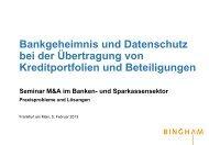 Bankgeheimnis und Datenschutz bei der Übertragung von ...