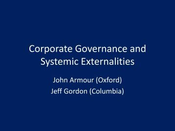 Corporate Governance and Systemic Externalities - Institute For Law ...