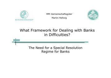 What Framework for Dealing with Banks in Difficulties? - Institute For ...