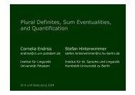 Plural Definites, Sum Eventualities, and Quantification - Institut für ...