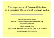 The Importance of Feature Selection in a Linguistic Clustering of ...
