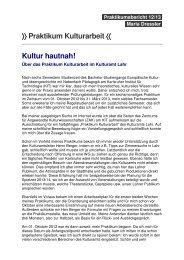 Praktikum Kulturarbeit 〈〈 Kultur hautnah! - Stadt Lahr