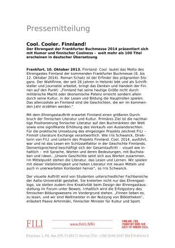 Pressemitteilung. Cool.Cooler. Finnland - Frankfurter Buchmesse