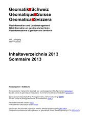 Inhaltsverzeichnis 2013 Sommaire 2013 - Geomatik Schweiz