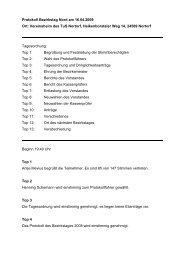 Protokoll Bezirkstag Nord am 16.04.2009 Ort: Vereinsheim des Tus ...