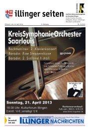 Mittwoch, den 10. April 2013 8. Jahrgang Nr. 15/2013 - Illingen.de
