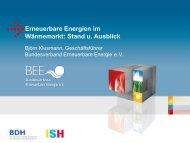Erneuerbare Energien im Wärmemarkt: Stand u. Ausblick - BDH