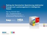 Beitrag der thermischen Speicherung elektrischer ... - ISH 2013 - BDH