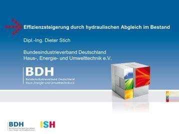 Effizienzsteigerung Durch Hydraulischen Abgleich ...   ISH 2013   BDH