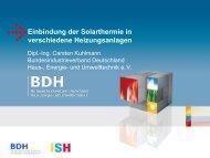 Einbindung der Solarthermie in verschiedene Heizungsanlagen - BDH