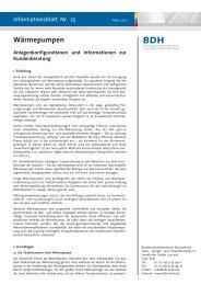 Infoblatt Nr. 25: Wärmepumpen - BDH