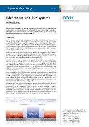 Infoblatt Nr. 51: Flächenheiz- und -kühlsysteme, Teil 1: Neubau - BDH