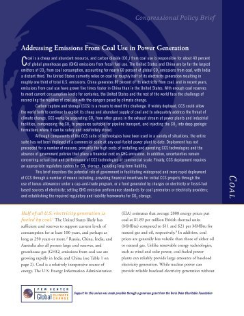 Addressing Emissions From Coal Use in Power Generation ...
