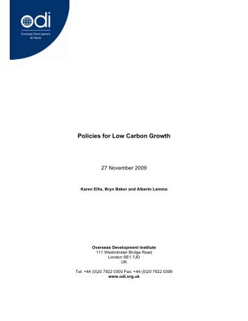 Policies for low carbon growth - India Environment Portal