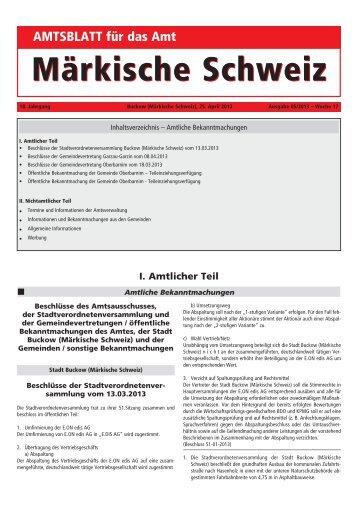 Mai 2013 - Amt Märkische Schweiz