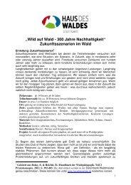 """""""Wild auf Wald - 300 Jahre Nachhaltigkeit ... - Haus des Waldes"""