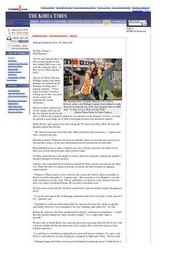 The Korea Times : Madcap Europeans Prove TV Show Hit