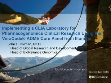 Implementing a CLIA Laboratory for Pharmacogenomics ... - Illumina