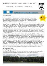 RUNDSCHREIBEN SOMMER 2012 - Blau Weiss Bonn