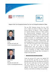 Impact of the New Enterprise Income Tax Law on Foreign Investment