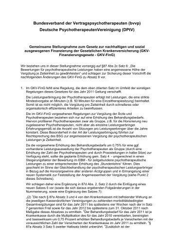 Gkv-Fing von BVVP und