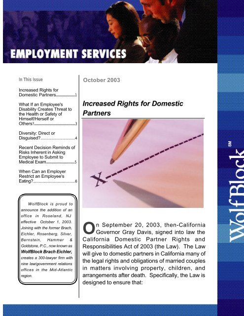 Increased Rights for Domestic Partners