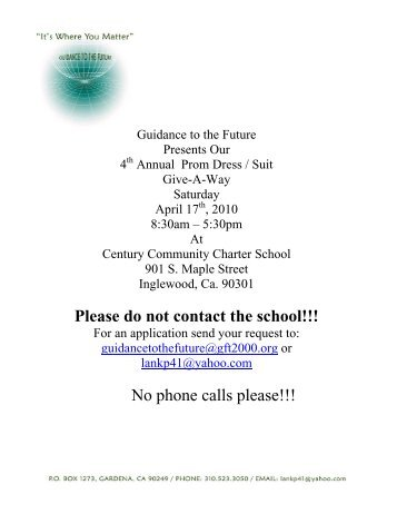 Please do not contact the school!!! No phone calls please!!!